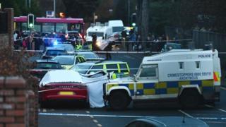 The scene of Jim Donegan's murder on Glen Road in west Belfast