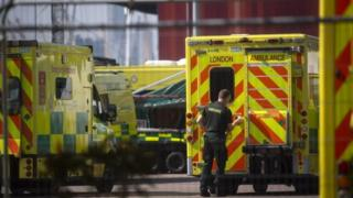 London Ambulance at Nightingale Hospital