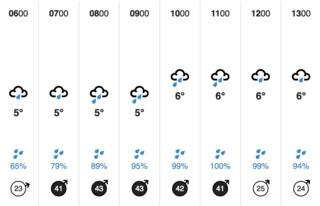 BBC Weather website - hourly forecast information
