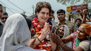 Congress Party's Priyanka Gandhi campaigns on the road for for India National Congress on March 29, 2019 in Utter Pradesh, India.