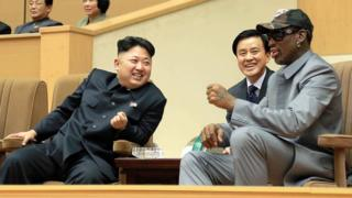 Kim Jong-un and Dennis Rodman watching a basketball game in Pyongyang in January 2014