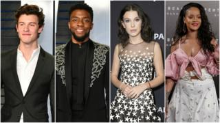 Image shows Shawn Mendes, Chadwick Boseman, Millie Bobby Brown and Rihanna.