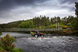 Crofter at the ford on the River Brora