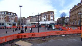 Road works on Queen Victoria Square in Hull