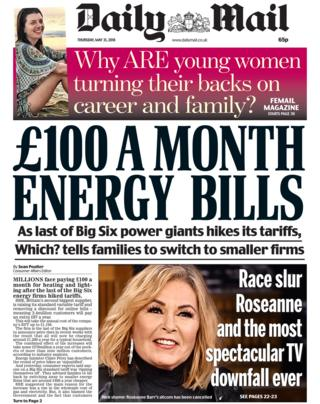 Daily Mail front page - 31/05/18