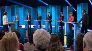 Screengrab from the leaders' debate