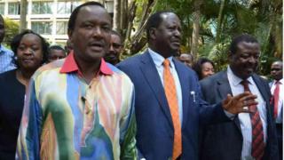 Viongozi wa upinzani nchini Kenya Kalonzo Musyoka, Raila Odinga na Musalia Mudavadi