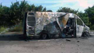 Burnt-out van on A41