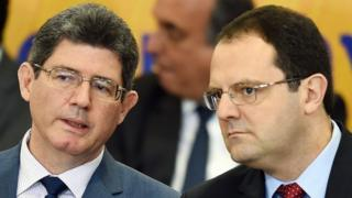 Joaquim Levy (left) and new Finance Minister Nelson Barbosa (right)