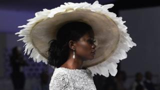 A model presents a creation by designer Yemi Shoyemi during the Lagos Bridal Fashion Week in Lagos on May 4, 2018