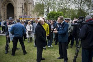 Lord Kinnock being interviewed