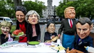 Effigies of the leaders of the G7 in Quebec