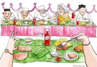 Illustration of parsi people enjoying dinner