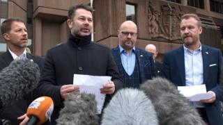 Abuse victims of former football coach Barry Bennell (L-R) Steve Walters, Gary Cliffe, Chris Unsworth and Micky Fallon speak outside Liverpool Crown Court on 19 February 2018