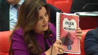 Opposition Turkish MP Fatma Kaplan Hurriyet criticises book for newly-weds in parliament