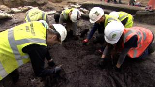 Archaeologists working on the site near Woodbridge