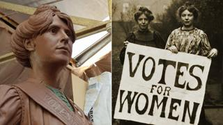 Annie Kenney design and picture of her with Christabel Pankhurst holding Votes for Women banner
