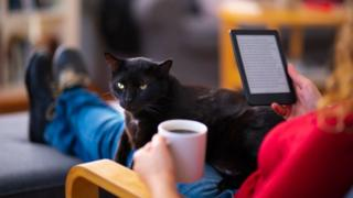 Woman reading e-book with a black cat