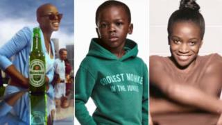 Images from Heineken, H&M and Dove adverts