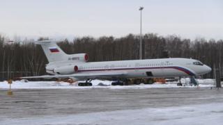 黒海で墜落したTu-154機。写真は2015年、モスクワ近くの軍飛行場で。
