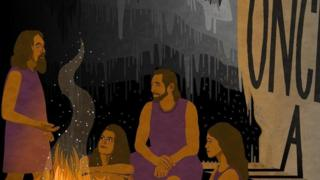 رسم يظهر كيف كان شغف الناس بالقصص في الماضي
