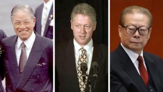 (左到右)前台灣總統李登輝、前美國總統克林頓、前中國國家主席江澤民