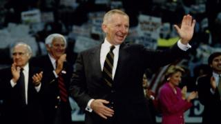 Ross Perot waves to crowds in November 1993