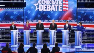 Democratic presidential candidates (L-R) former New York City Mayor Mike Bloomberg, Sen. Elizabeth Warren (D-MA), Sen. Bernie Sanders (I-VT), former Vice President Joe Biden, former South Bend, Indiana mayor Pete Buttigieg and Sen. Amy Klobuchar (D-MN) (R) participate in the Democratic presidential primary debate at Paris Las Vegas on February 19, 2020 in Las Vegas