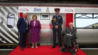 Paul Williams (Driver Team Manager, Virgin Trains), Mary Roberts., RAF Valley Station Commander Group Captain Nick Tucker-Lowe DSO, with John Wynne