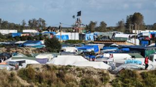 "The so-called ""Jungle"" migrant camp near Calais"