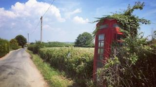 Disused telephone box in East Sussex