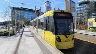 Tram at MediaCityUK in Salford