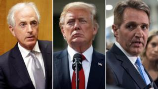 از راست: جف فلیک، دونالد ترامپ، باب کورکر