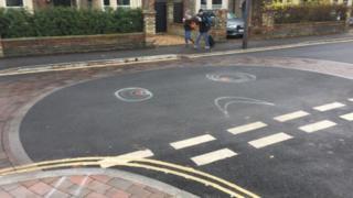 graffiti on Tenison Road ghost roundabout