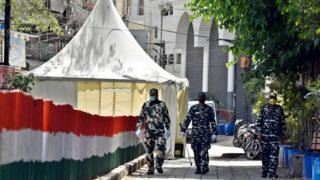 Paramilitary personnel seen at the cordoned off entry route to the Tablighi Jamaat's Alami Markaz Banglewali Masjid building on day twenty of the 21-day nationwide lockdown in India