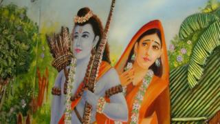 A temple image of Ram and Sita