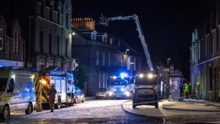 Fire crews at the scene of a fire in Insch, Aberdeenshire
