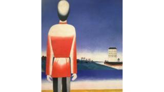 """Репродукція картини Малевича """"Чоловік на фоні супрематичного пейзажу"""""""