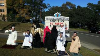 Anti-Islam protestors stage a demonstration outside Gosford Anglican Church