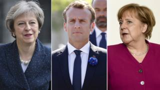 Theresa May, Emmanuel Macron ve Angela Merkel