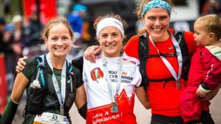 The female podium at the Salomon Glen Coe Skyline race