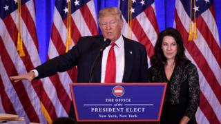 Donald Trump and Sheri Dillon at news conference on Jan 11