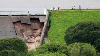 The collapsed dam