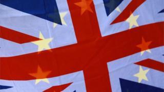 Union Jack and EU flag combined