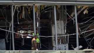 Blast damage for di Shangri-La hotel for Colombo