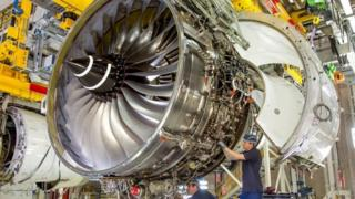 Work being carried out on a Rolls-Royce Trent engine