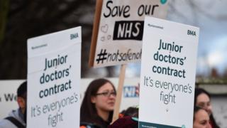 Doctors on the picket line outside Sandwell Hospital on January 12th 2015