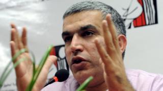 Nabeel Rajab habla durante la presentación de un informe en Bahrain Human Rights Society (BHRS) en Manama, Bahréin, 22 de noviembre de 2011