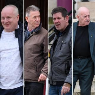 Alan Godfrey, 66, Christopher Price, 68, Robert Pye, 66 and Stephen Russell, 66, leaving the court
