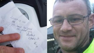 The note (left) and Jamie Frayne (right)